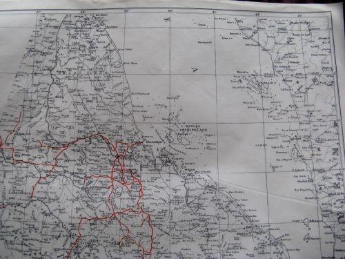 WW2 SOE, RAF CONCEALED MULBERRY LEAF TISSUE MAP ERITREA