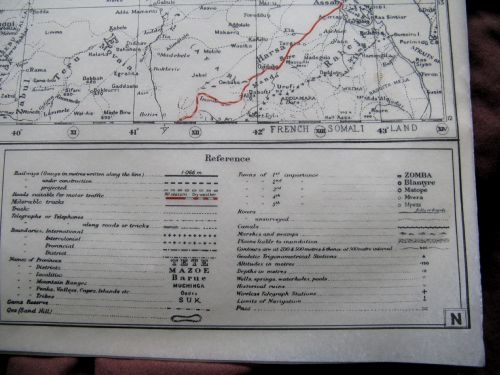 WW2 SOE, RAF CONCEALED MULBERRY LEAF TISSUE MAP ERITREA