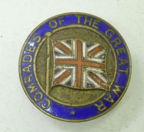 WW1 Comrades of the Great War Badge J.R.Gaunt