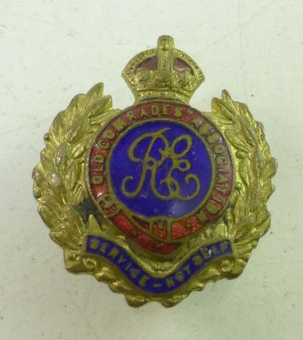 WW1 WW2 RE Old Comrades Association Lapel Badge