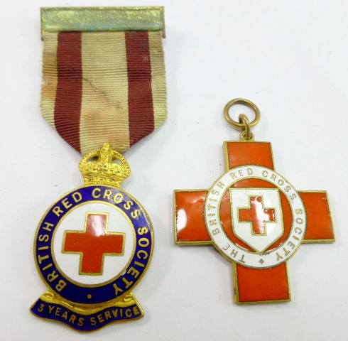 2 WW2 era Red Cross Medals, one for 3 years service