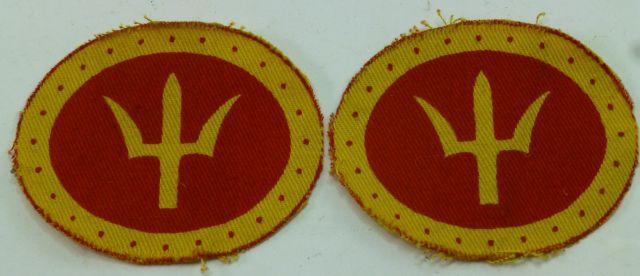 Original WW2 British 44th Division Printed Cloth Badge Pair