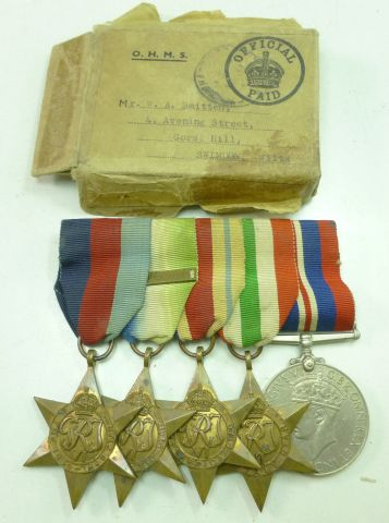 WW2 Medal Group Set of 5 Atlantic Star With F&G Bar