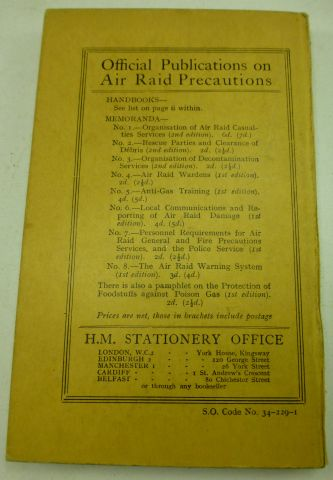 Good 1938 ARP Handbook No1 Personal Protection Gas