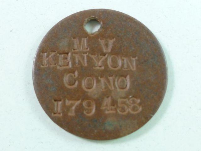 Un-usual WW1 WW2 British Army Dog Tag M.V.Kenyon