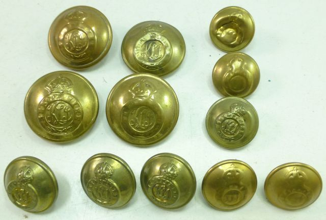 Set of 12 Buttons to Kings Shropshire Light Infantry