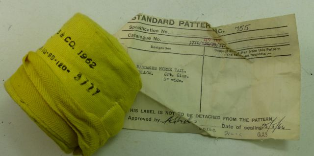 British Army Sealed Pattern Yellow Horse Tail Bandage