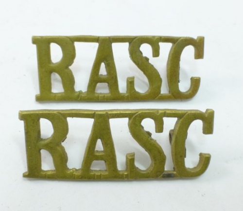 Original WW2 RASC Brass Shoulder Titles