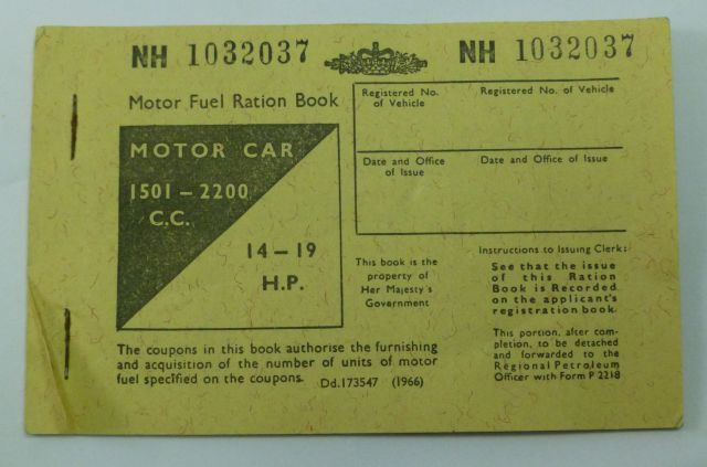 1966 Dated British Motor Fuel Ration Book, Motor Car