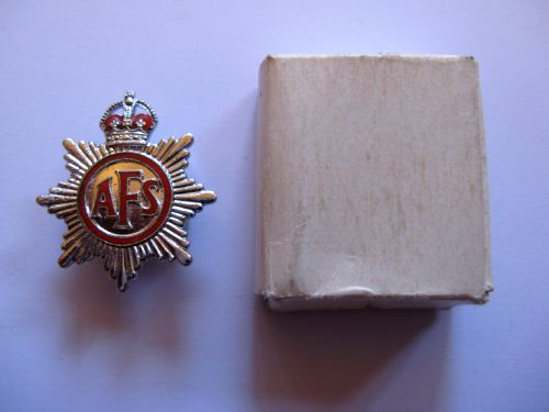 Small WW2 AFS Lapel Badge In Original Issue Box