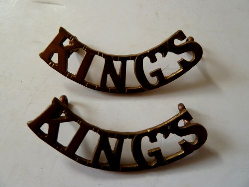 WW2 Kings Regiment Brass Shoulder Titles