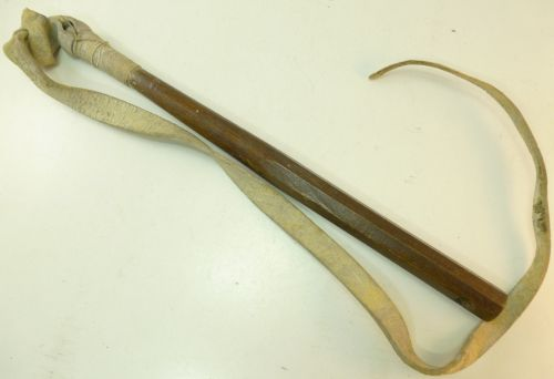 Victorian Military Whip Wooden Stick & Buff Leather Tail