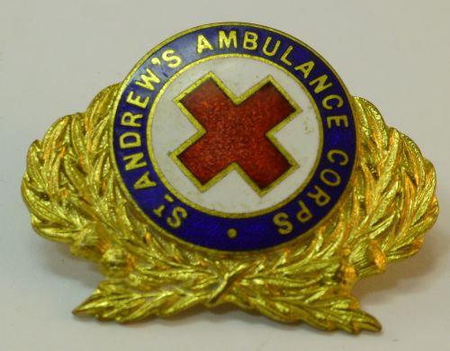 WW2 Enamelled St Andrew's Ambulance Corps Cap Badge