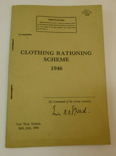 British Army Clothing Rationing Scheme 1946 Pamphlet