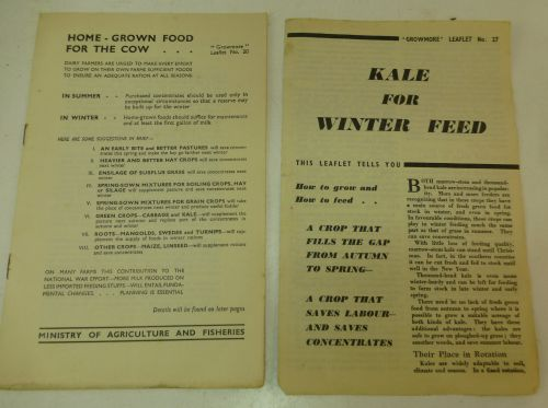 WW2 Ministry Pamphlets Kale Winter Feed, Food for Cows
