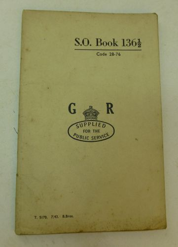 WW2 British S.O. Book 136 ½ GR 1943
