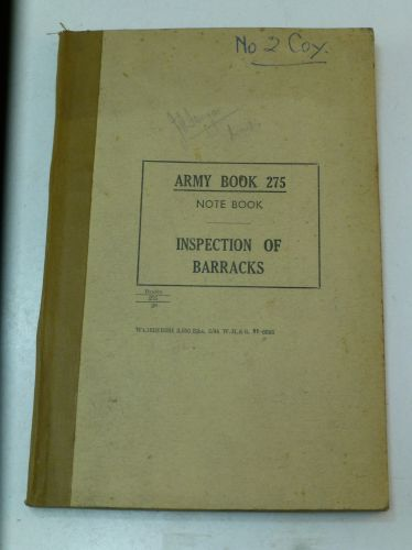 Army Book 275 Note Book Inspection of Barracks 1944
