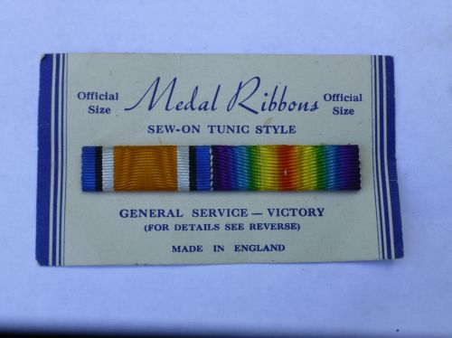Original Full Size WW1 Medal Ribbon Pair on Card