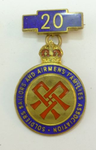 Named Badge Soldiers Sailors & Airmen Families Association 20 Ye