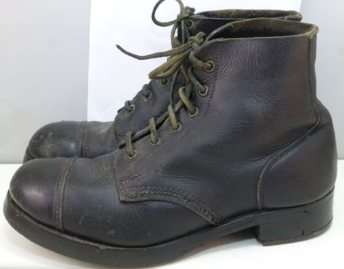 WW2 British Army Issue Black Ammo Boots Dated 1943