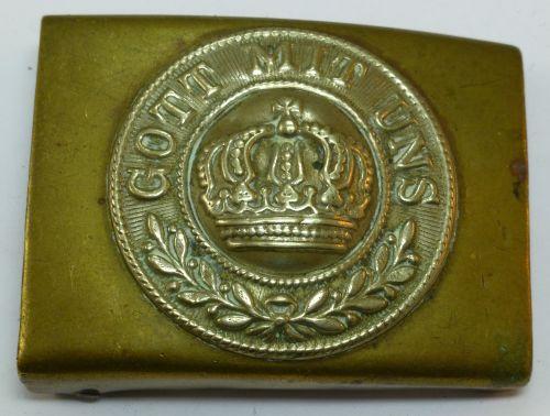 39 Early WW1 German Army Belt Buckle Brass & White Metal