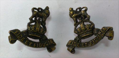 39 WW1 WW2 RAPC Officers Bronze Collar Badges