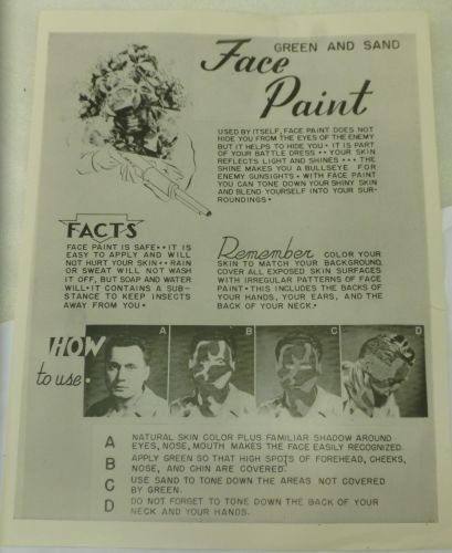 11 Original WW2 US Army Face Paint Instructions Sheet
