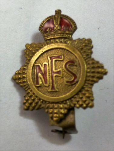 Small WW2 National Fire Service Pin Back Badge