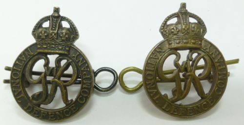 Original WW2 National Defence Company Officers Collar Badges