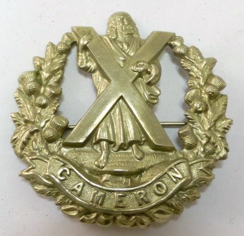 WW1 WW2 Cameron Highlanders Cap Badge Brooch
