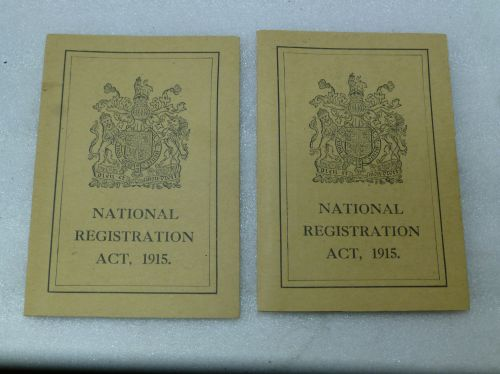 Excellent WW1 National Registration 1915 Card Pair