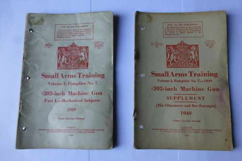 2 Small Arms Training Pamphlets .303 Vickers MG 1939 & 1940