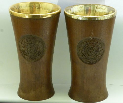 WW2 King Georges Own Bengal Sappers & Miners Wooden Vases