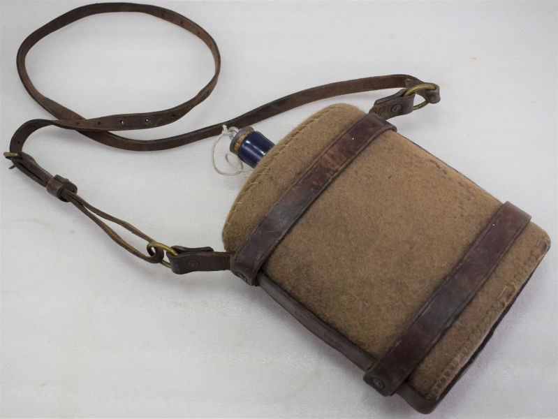 WW2 British Army Water Bottle & Leather Cradle Dated 1941