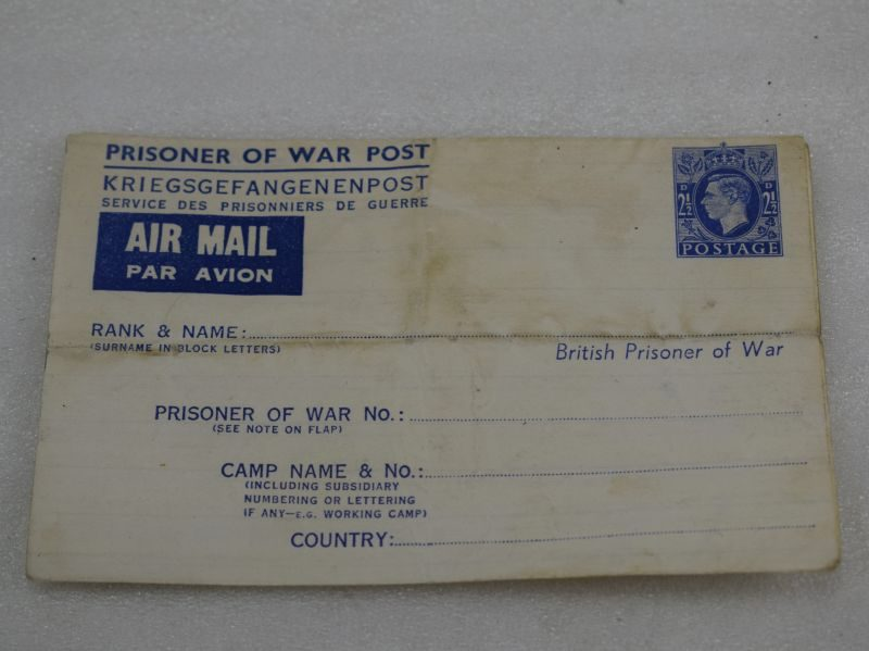 Original Un-Used WW2 Prisoner of War Post Air Mail Letter