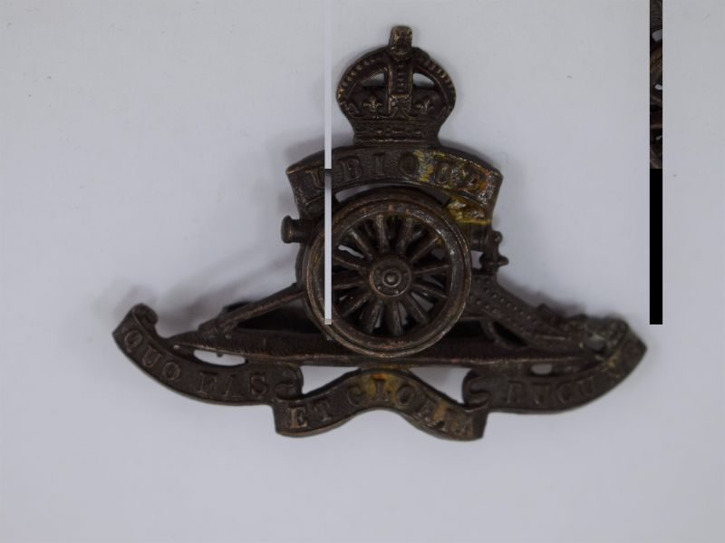 WW1 WW2 Royal Artillery Officers Bronze Cap Badge