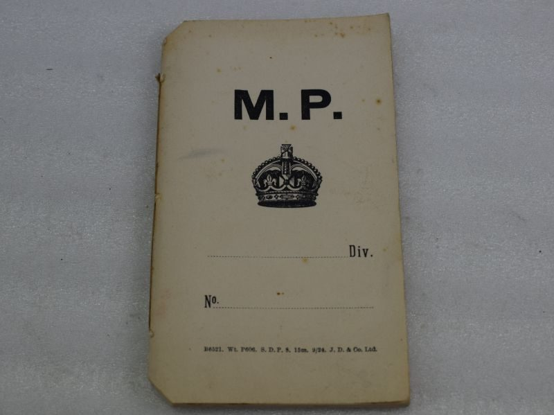 British Army Military Police Note Book Dated 1924