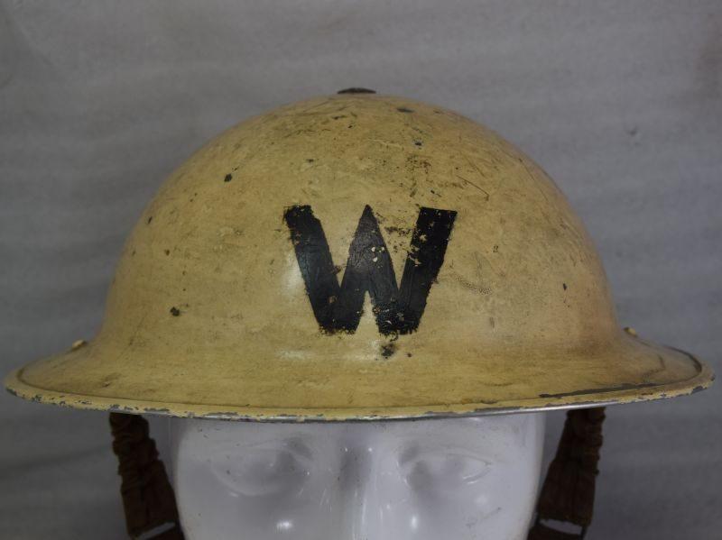 Original As Found WW2 Senior Air Raid Wardens White Steel Helmet
