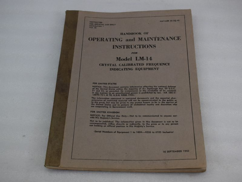 WW2 US Handbook Operating & Maintenance LM-14 Frequency Indicating Equipment