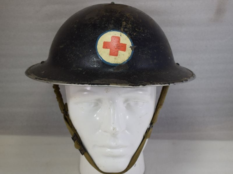WW2 British Home Front Helmet With Unusual Red Cross Insignia