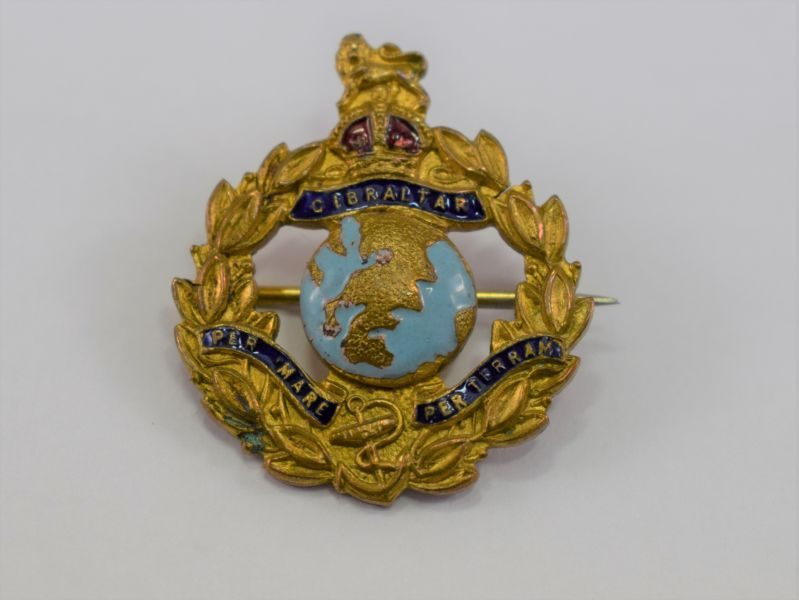 WW1 WW2 Royal Marines Part Enamelled Sweetheart Brooch