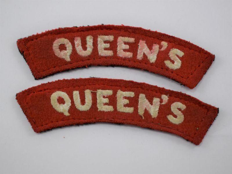 Original WW2 Queens Regiment Cloth Shoulder Title Pair
