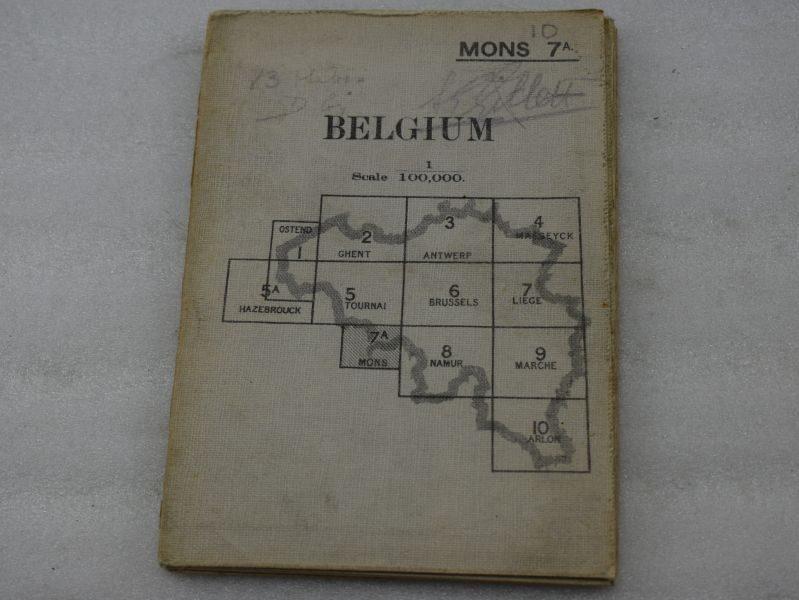 Original WW1 British Map Mons 1912, First Major Battle of WW1