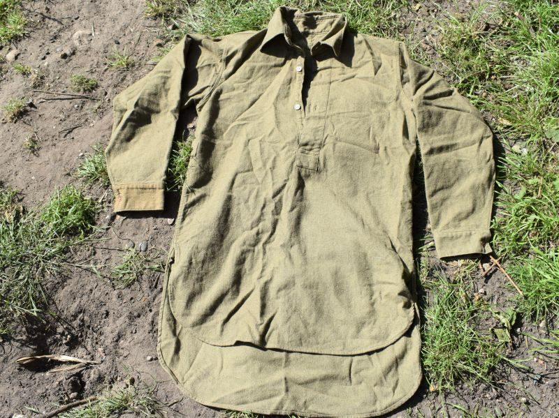 Original WW2 British Army Issue 3 Button Front Overhead Shirt