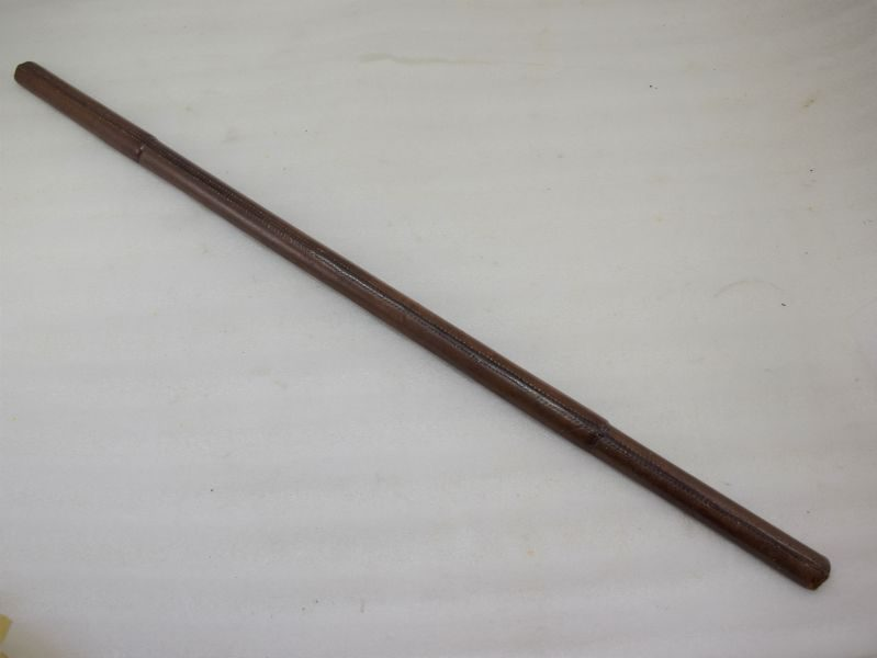 Unusual WW2 British Officers Half Round Leather Covered Swagger Stick