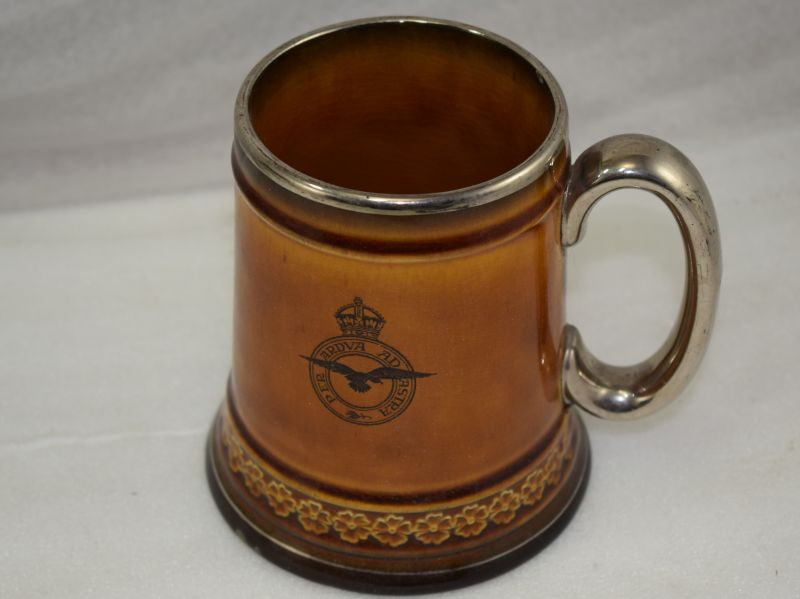 Large WW2 Era Porcelain Pint Beaker With RAF Badge