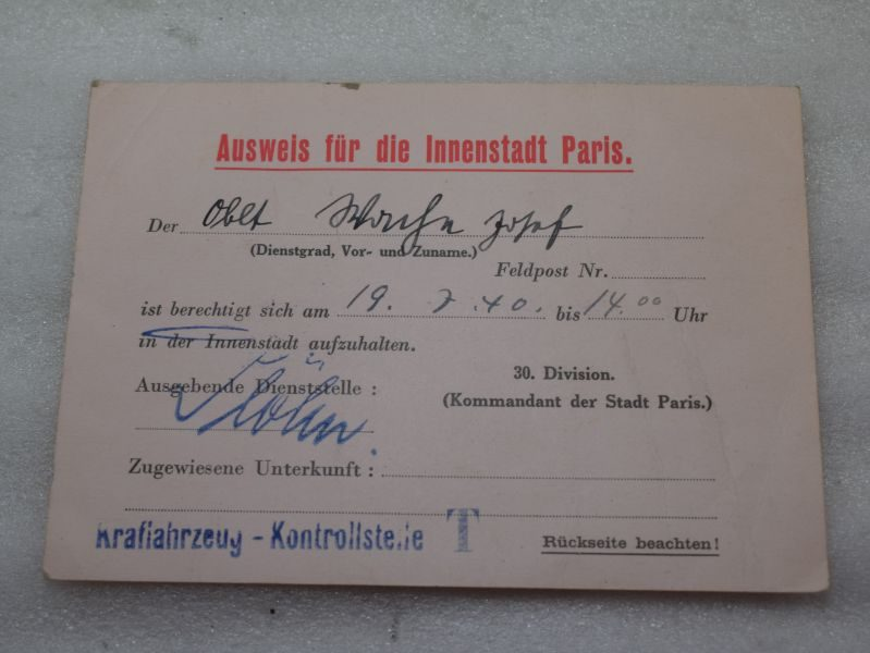 32 Original WW2 German Pass for The Centre Of Paris 19th July 1940