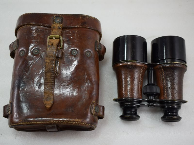 Excellent WW1 British Officers MKV Field Glasses & Case 1916 Named T.Perry. D.Coy, North Staffs