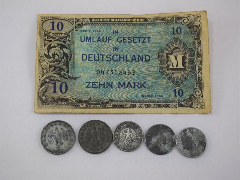 WW2 German Pfennig Coins & Ten Mark Invasion Note