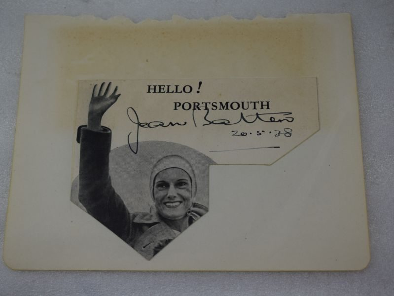 Original Picture & Autograph of Famous Aviatrix Jean Batten From Her Visit To Portsmouth 1938
